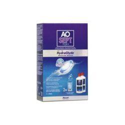 AoSept Plus with HydraGlyde (2x360 ml), Soluzione per lenti a contatto + 2 portalenti