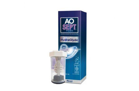 AoSept Plus  With HydraGlyde (90 ml), Soluzione per lenti a contatto + 1 portalenti