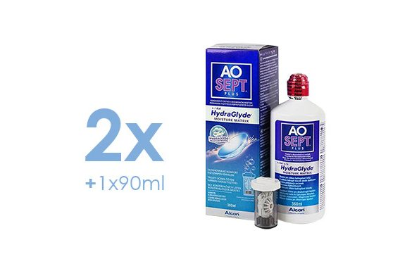 AoSept Plus with HydraGlyde (2x360 ml + 1x90 ml)
