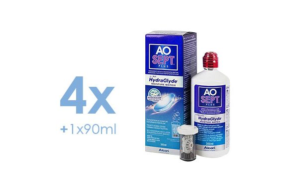 AoSept Plus with HydraGlyde (4x360 ml + 1x90 ml)