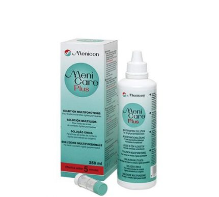 MeniCare Plus (250 ml), soluzione per lenti a contatto + 1 portalenti – per lenti duro