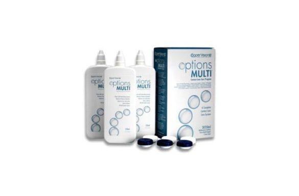 Options Multi Pack (3x250 ml), Soluzione per lenti a contatto + 3 portalenti