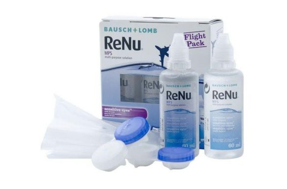 Renu MPS Sensitive Eyes Flight Pack (2x60 ml),  Soluzione per lenti a contatto + 2 portalenti
