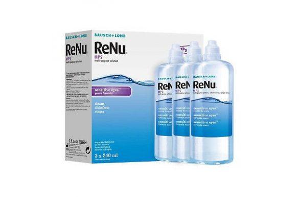 Renu MPS Sensitive Eyes (3x240 ml),  Soluzione per lenti a contatto + 3 portalenti